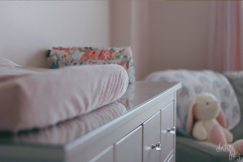 baby girl woodland nursery decor inspiration pink and coral with bunnies ikea HEMNES white stain