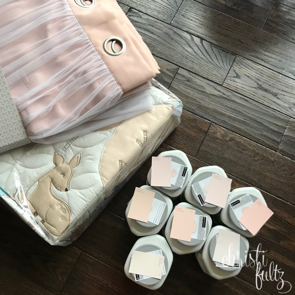 Sherwin William baby girl nursery pink swatches