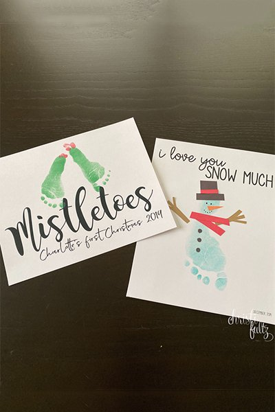 winter footprint crafts for babies, toddlers, and preschoolers; mistletoes and snowmen; homeschool activity