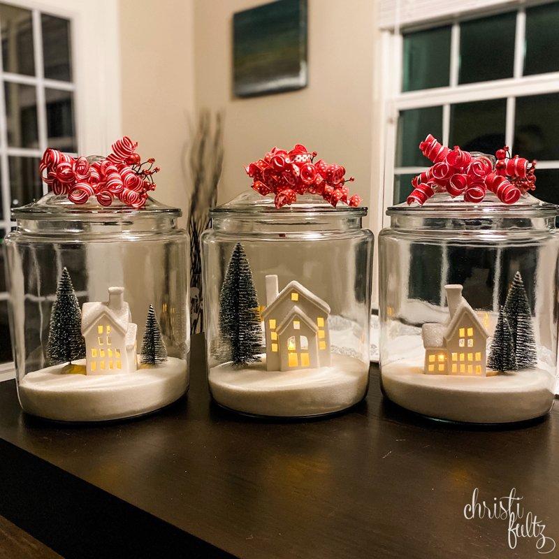 DIY Christmas Jar craft winter house scene