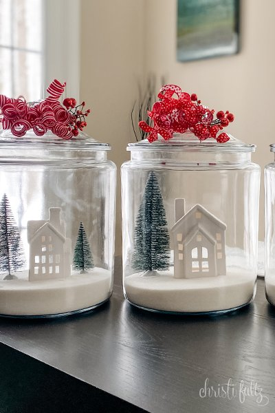 DIY Christmas Jar craft winter house scene