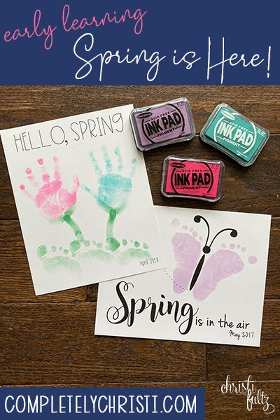 spring handprint footprint art craft flowers tulips butterfly early learning for babies, toddlers, and preschoolers
