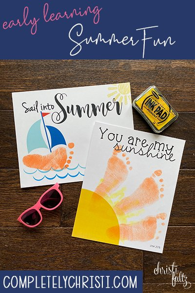 Summer sun and sailboat handprint and footprint crafts make a sweet keepsake for babies, toddlers, and preschoolers. Great for homeschooling or daycares too.
