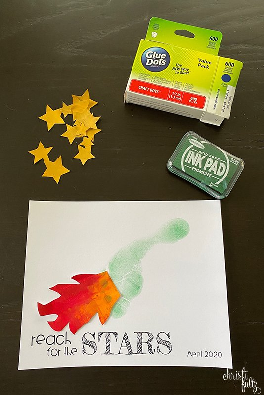 Baby, toddler, and preschool footprint art with Ziploc finger painting for early learning at home. Rocket ship in space and butterfly.