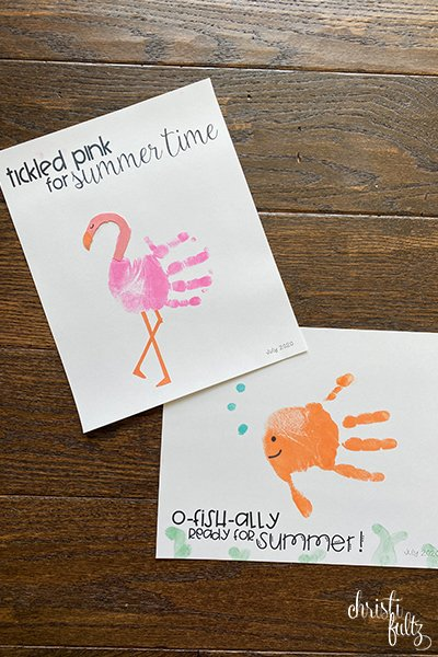 Fish and flamingo handprint crafts make a sweet keepsake for babies, toddlers, and preschoolers. Great for homeschooling or daycares too.