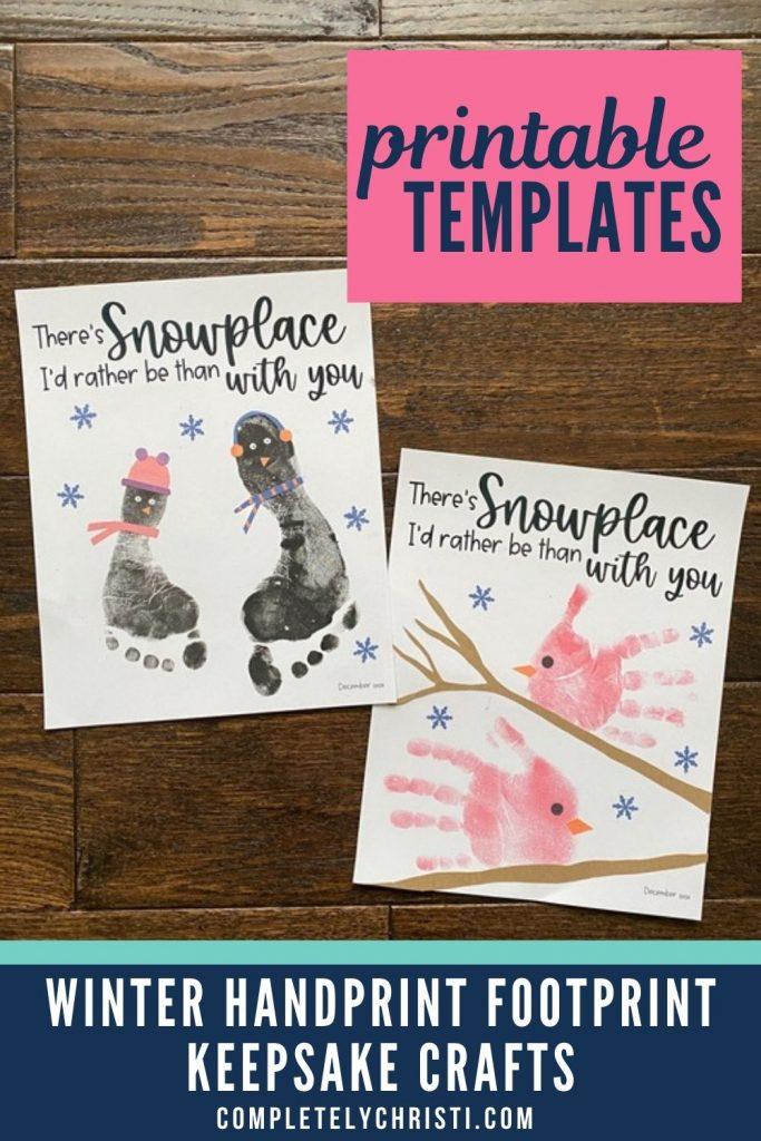 Penguin footprint and cardinal handprint winter keepsake craft ideas for babies, toddlers, and preschoolers.