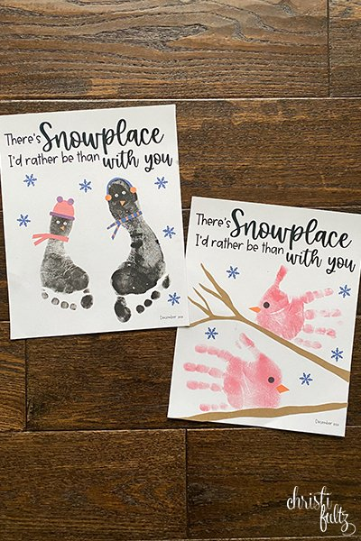 Penguin footprint and cardinal handprint winter keepsake craft ideas for babies, toddlers, and preschoolers.