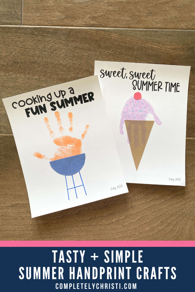 simple summer handprint craft for toddlers and kids grill and ice cream theme