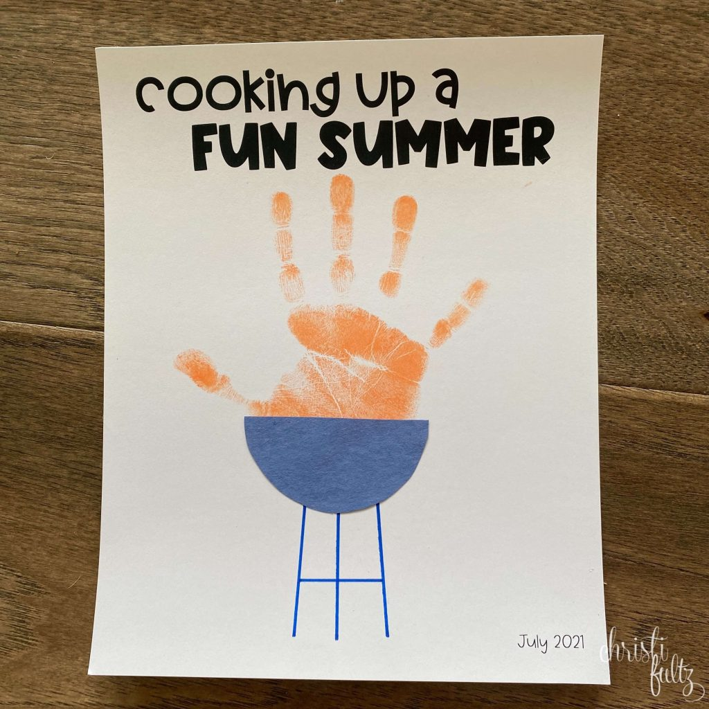 simple summer handprint craft for toddlers and kids grill and theme