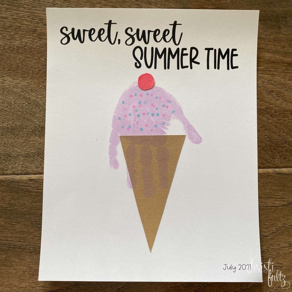 simple summer handprint craft for toddlers and kids ice cream theme